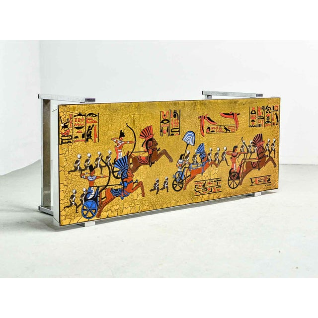 Artistic Mid-Century Belgium Design Egyptian Decorated Coffee Table by De Nisco, 1970s For Sale - Image 10 of 10