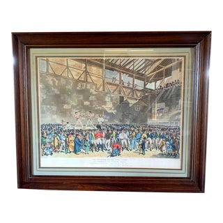 1895 Famous Boxing Match Framed Print For Sale