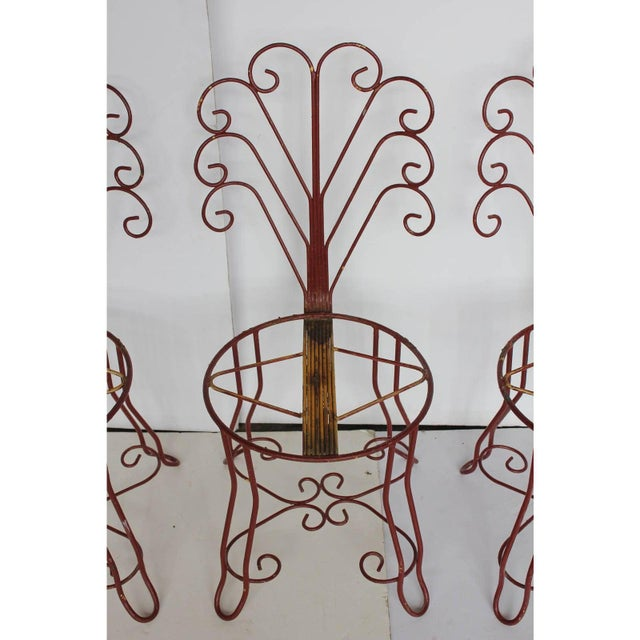 Mid-Century Modern 1950's Vintage French Iron Garden Chairs- Set of 4 For Sale - Image 3 of 5