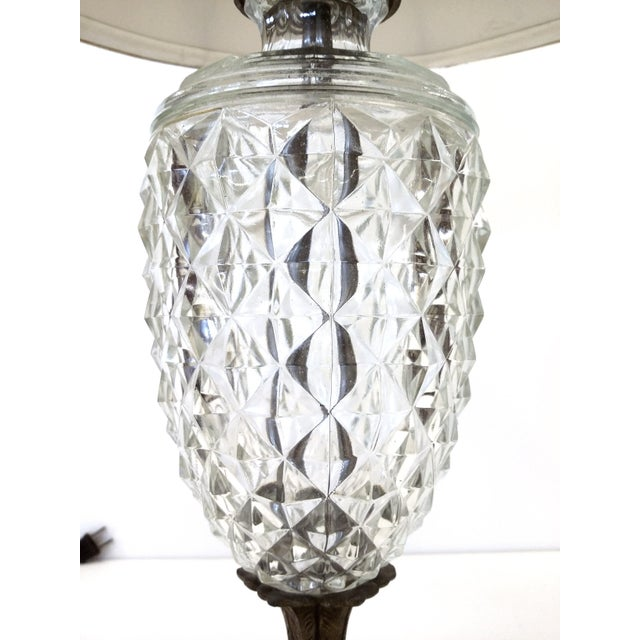 Antique Glass & Brass Pineapple Style Table Lamp - Image 4 of 10