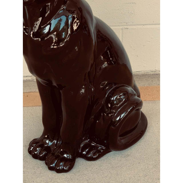 Pair of Italian Porcelain Seated Black Panthers For Sale In Atlanta - Image 6 of 12