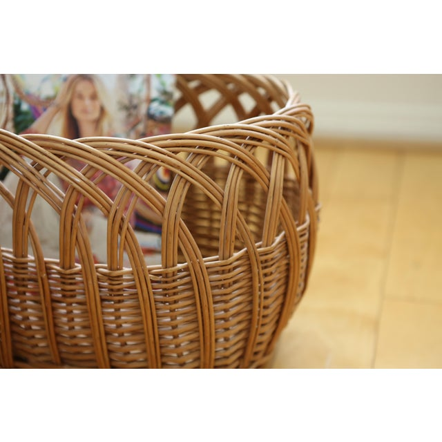 Vintage Boho Chic Wicker Magazine Rack Basket - Image 5 of 5