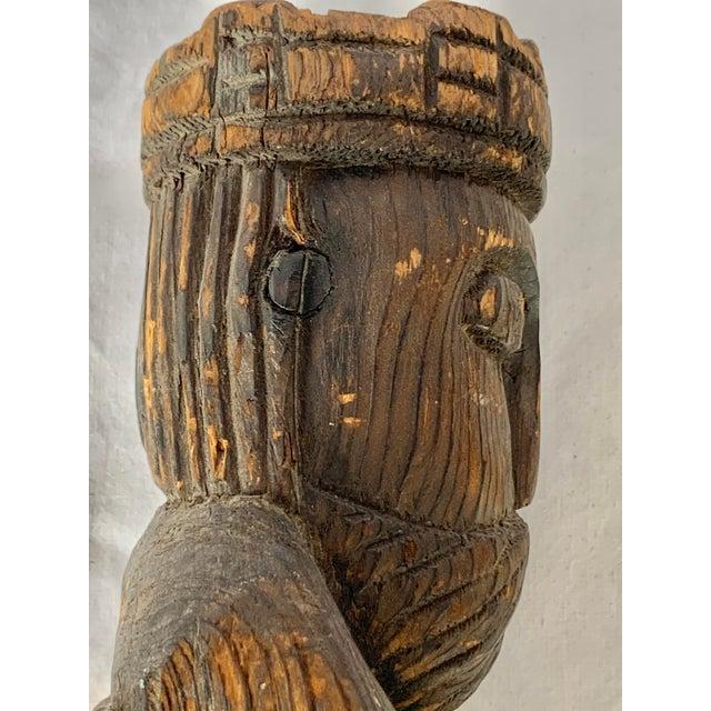 Vintage Hand Carved Wooden King Sculpture For Sale - Image 10 of 11