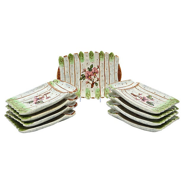 Vallauris Vintage French Vallauris Asparagus Set - 9 Pieces For Sale - Image 4 of 4