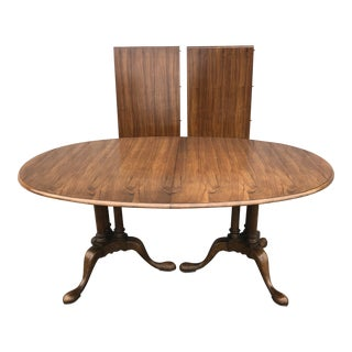 1970s Queen Anne Baker Furniture Co. Double Pedestal Walnut Dining Table For Sale