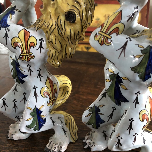 Mid 19th Century French Victorian Quimper Faience Ceramic Heraldic Lion Candlesticks - a Pair For Sale - Image 10 of 13