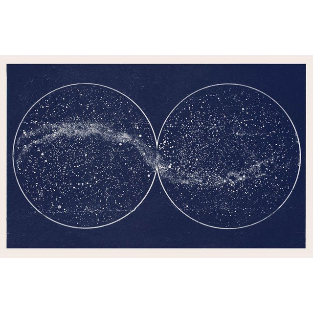 Boho Chic Double Hemisphere Blue Constellation Map Celestial Print For Sale - Image 3 of 3