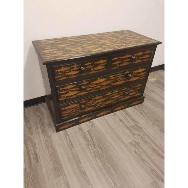 English Antique English Fish Decoupage Chest of Drawers - Two Drawers Over Two Drawers For Sale - Image 3 of 13