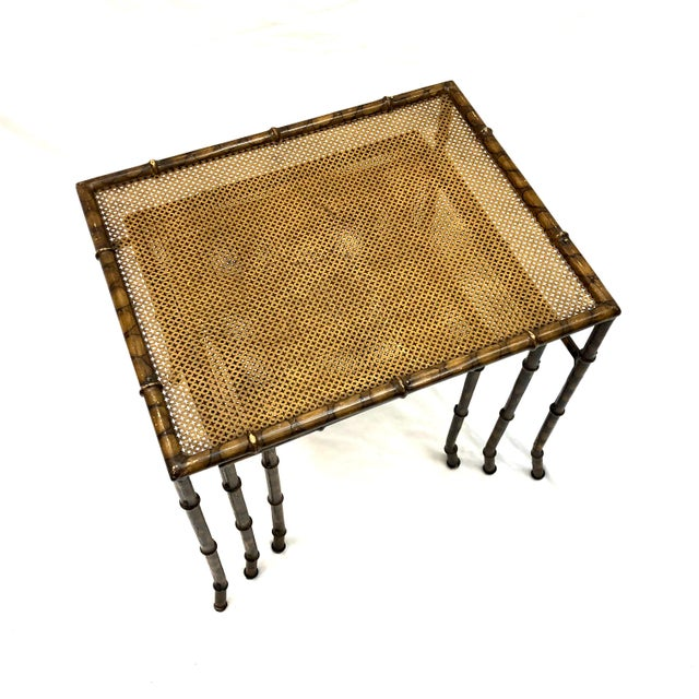 Gold 20th Century Chinoiserie Faux Painted Steel Bamboo Nesting Tables - Set of 3 For Sale - Image 8 of 12