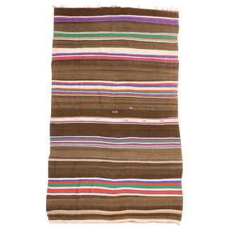 1960s Vintage Striped Kilim Rug, Wide Hallway Runner With Stripes - 6'2 X 10'5 For Sale