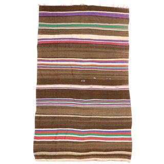 1960s Vintage Striped Kilim Rug, Wide Hallway Runner With Stripes - 6'2 X 10'5 For Sale