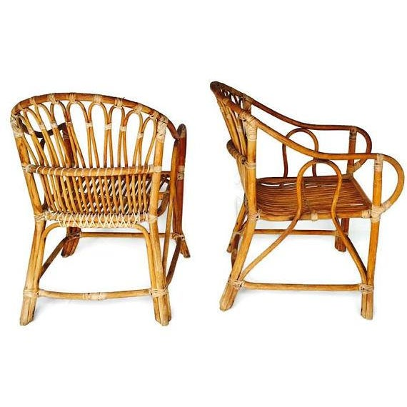 Mid Century Modern Bamboo Chairs Sculpted Bent Bamboo Franco Albini Style - a Pair For Sale - Image 4 of 11