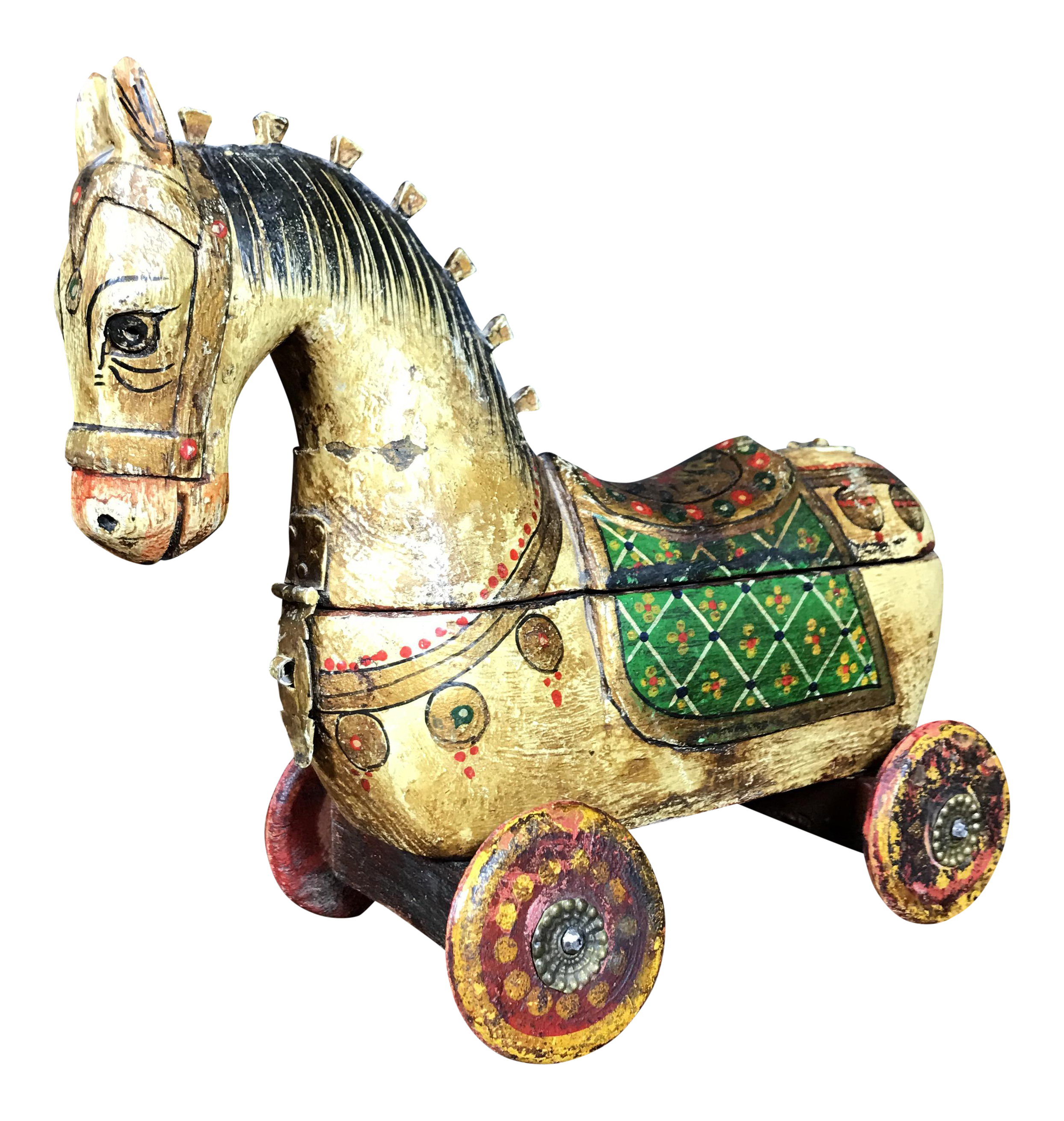 Antique Wooden Horse Jewelry Box Chairish
