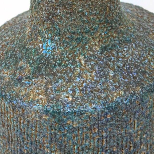 Mid-Century Blue Green Lava Glaze Lamp - Image 3 of 6