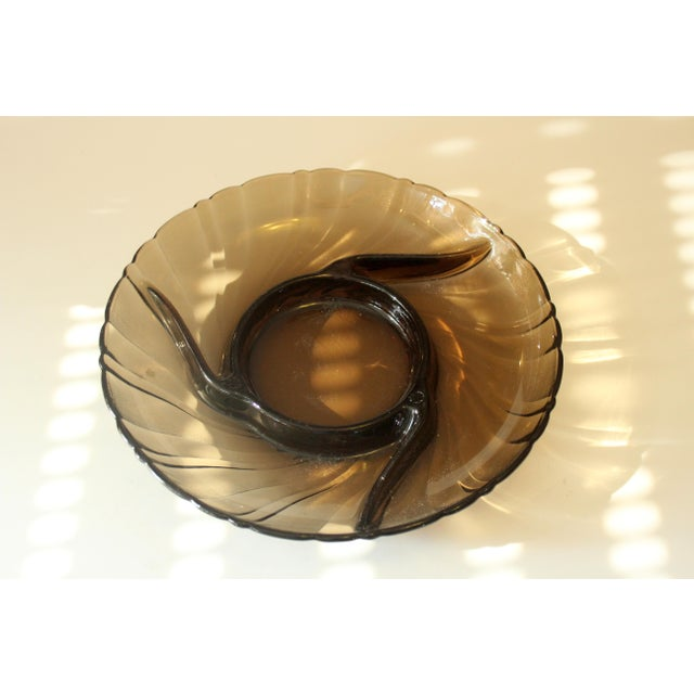 1970s Vintage Smoked Glass Trinket Bowl For Sale - Image 5 of 5