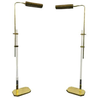 Modernist Brass and Lucite Adjustable Floor Lamps For Sale