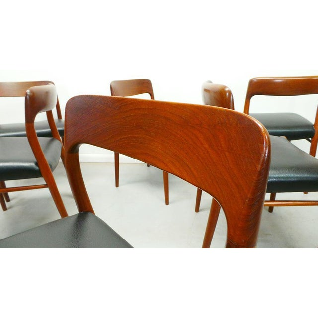 1960s Vintage J.L. Moller Danish Modern Black Dining Chairs- Set of 6 For Sale In Orlando - Image 6 of 9