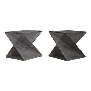 1980s Mathieu Matégot Style Geometric Side Tables - a Pair For Sale