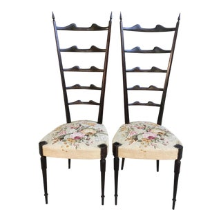 Italian Mid Century Modern Chiavari Style High Back Chairs- a Pair For Sale