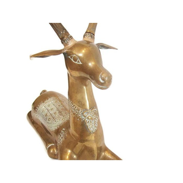 Hollywood Regency Brass Reindeer Statue - Image 3 of 9
