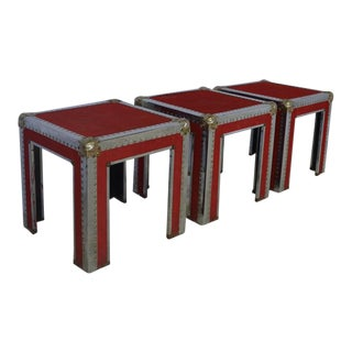 Red Square Side Tables - Set of 3