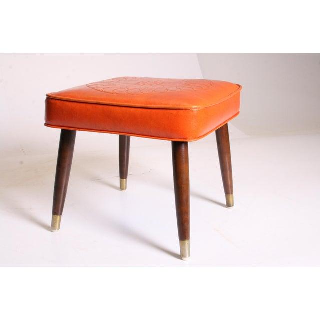 Mid Century Modern Orange Vinyl Foot Stool - Image 9 of 11