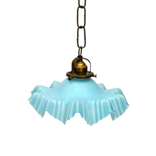 French Blue Opaline Glass Ruffled Ceiling Light With Bronze Fitting For Sale