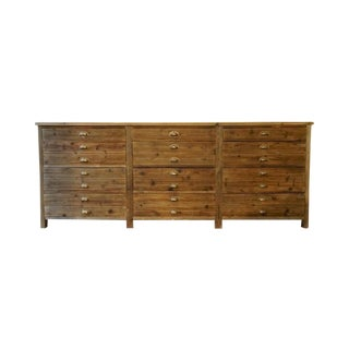 Vintage Reclaimed Wood Twelve-Drawer Dresser For Sale
