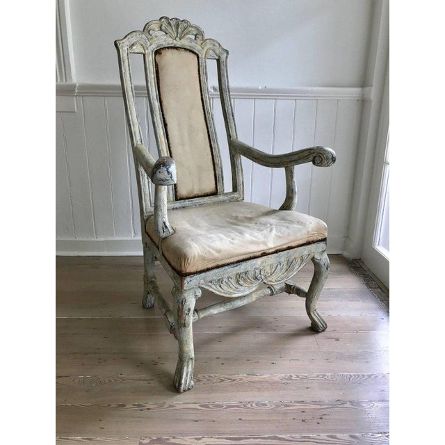 Swedish Baroque Armchair in Original Paint For Sale - Image 9 of 9