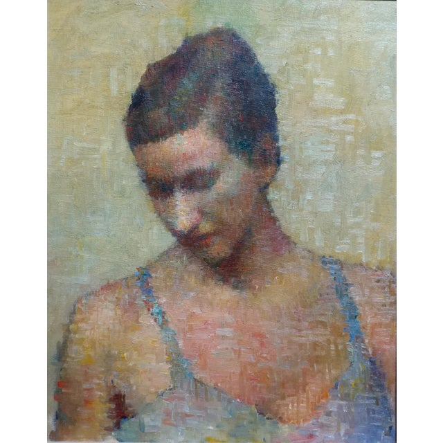 Stevan Kissel -Portrait of a Female Dancer-Pointillism-Oil painting oil painting on canvas - circa 1960s frame size 22 x...