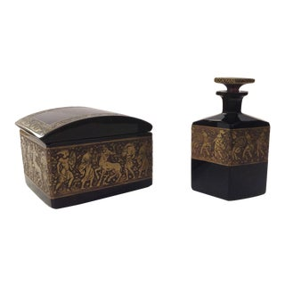 Perfume Bottle and Dresser Box by Moser Karlsbad Czechoslovakia For Sale