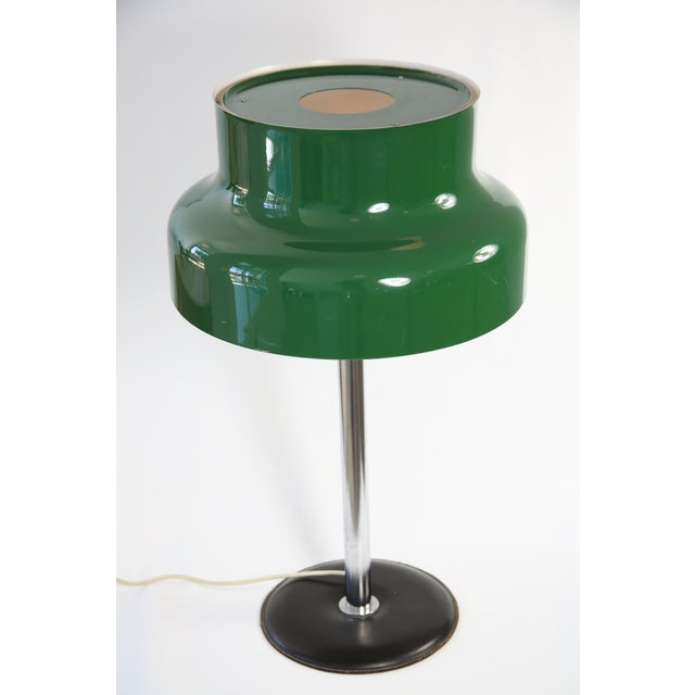 A beautiful forest green 'Bumling' Table Lamp designed by Anders Pehrson manufactured by Atelje Lyktan in Sweden. A Mid-...