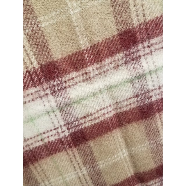 Wool Throw Green, Red, Brown and White in a Plaid Design - Made in England For Sale - Image 9 of 11