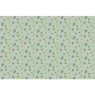 Bugs Celadon Linen Cotton Fabric 6yds For Sale