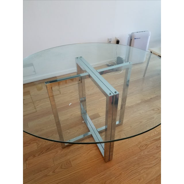"""Modern Silverado Chrome 47"""" Round Dining Table For Sale - Image 3 of 5"""