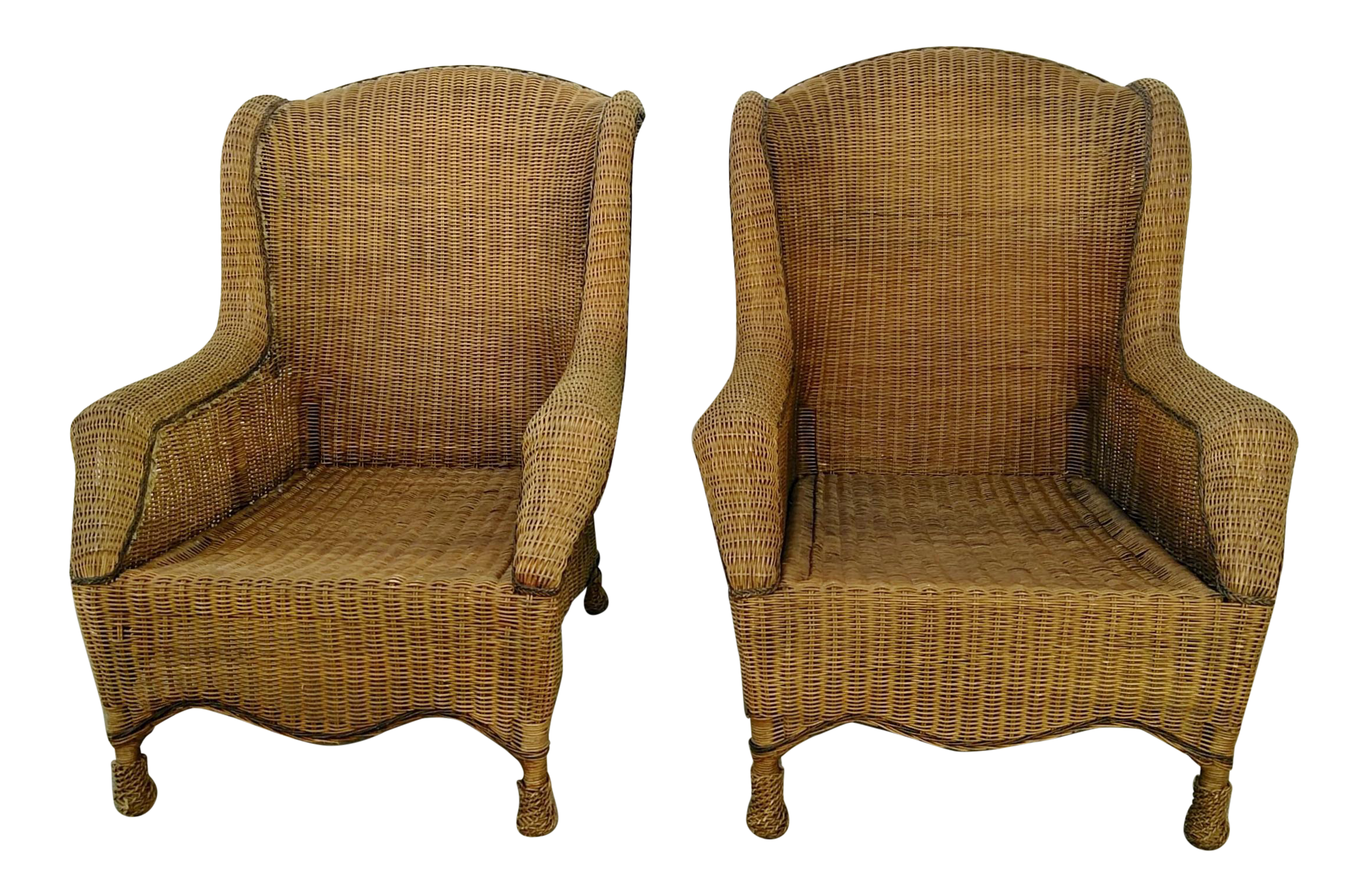 Pair Lg Vintage Ralph Lauren Wicker Chairs
