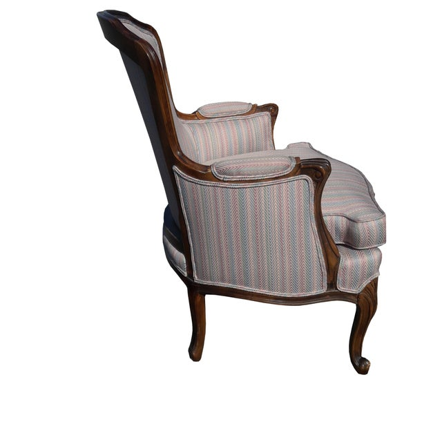 Cottage 1950s French Provincial Walnut Bergere Chair For Sale - Image 3 of 8