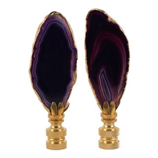 Dark Purple Gold Plated Agate Slice Lamp Finials - a Pair For Sale