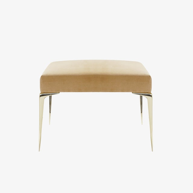 Mid-Century Modern Colette Brass Ottomans in Camel Velvet by Montage, Pair For Sale - Image 3 of 9
