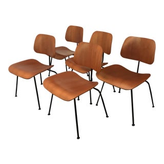 Eames Walnut Mounded Dining Chairs - Set of 5 For Sale