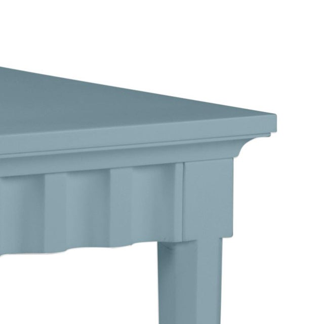 Features a carved scallop pattern design. The color is Benjamin Moore Chiswell Blue with a semi-gloss finish. Made of...