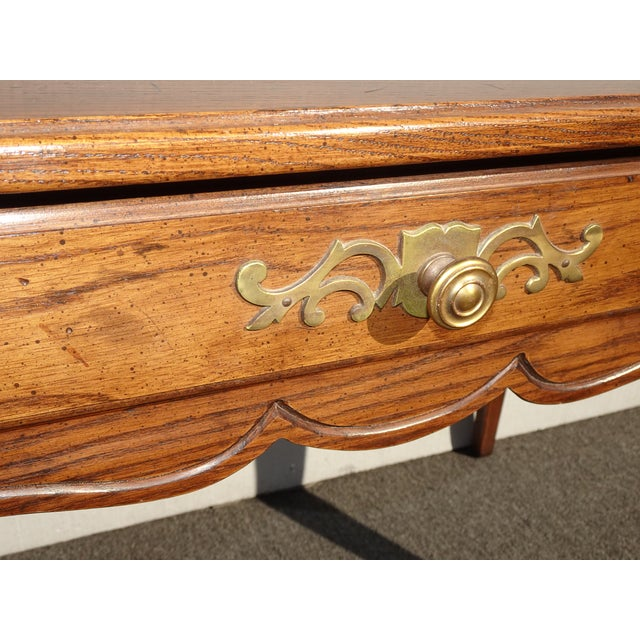 Vintage French Country Henredon Oak Writing Desk W Three Drawers For Sale - Image 10 of 13