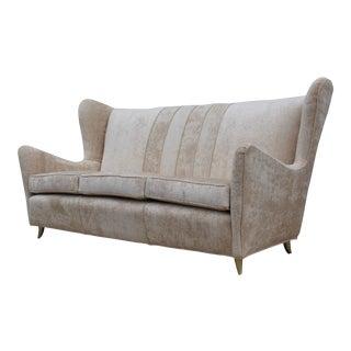 Gio Ponti Style Italian Wingback Sofa For Sale