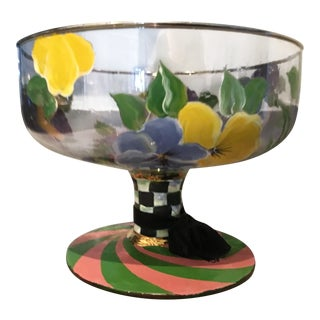 Mackenzie Childs Hand Painted Pansy Large Compote For Sale