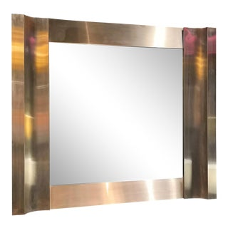 Stainless Steel Graphic Mirror, Italy, 1970s For Sale