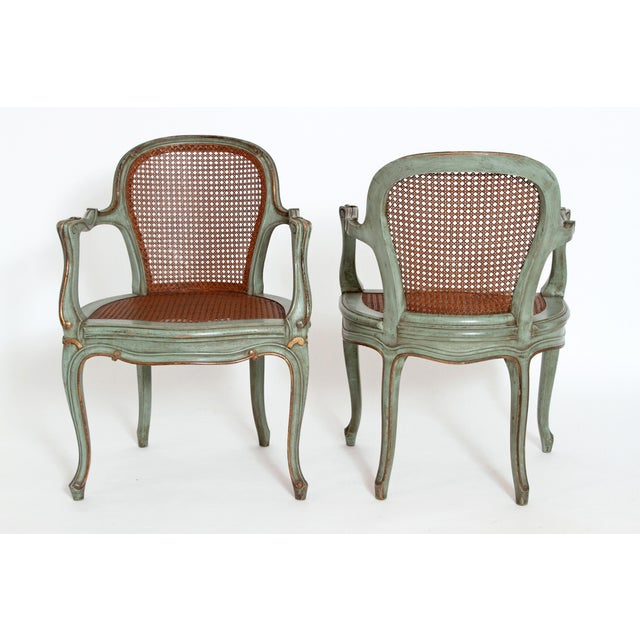 Set of 4 Italian Caned Polychrome Fauteuils - Image 7 of 11