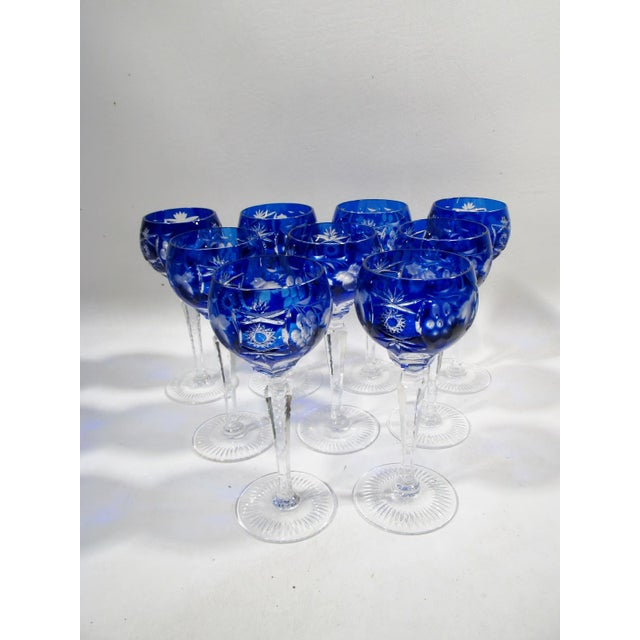 Nachtmann Traube Cobalt Blue Cut Clear Hock Wine Goblets - Set of 9 For Sale - Image 11 of 11