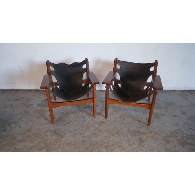 Stunning pair of Sergio Rodrigues 'Kilin' lounge chairs, designed by Oca Industries in the 1970s. Made in Brazil. Sergio...