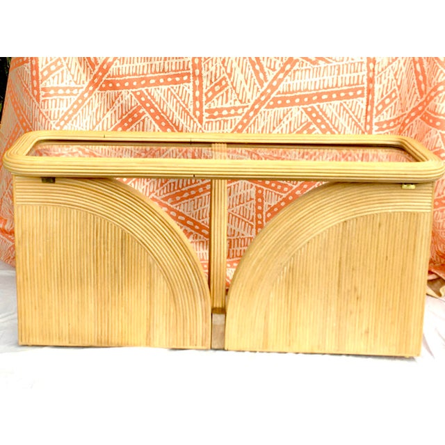 1970s Hollywood Regency Gabriella Crespi Style Split Pencil Reed Rattan and Glass Console or Sofa Table For Sale - Image 5 of 9