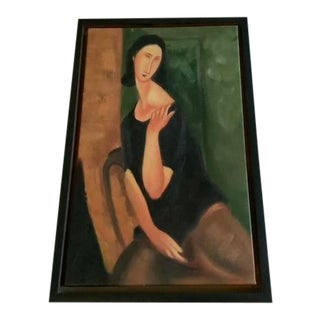 Mid/Late 20th Century Stylized Portrait Painting, Framed For Sale